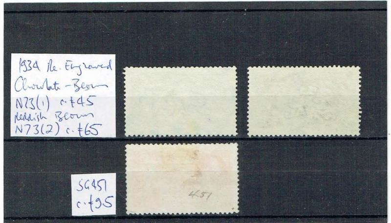 #782 GB GV Sea Horses 1934 Re-Engraved 2s6d shades + 5s on card GU c£205 (3)
