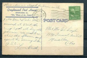 USA 1945 Color PC Used 1c G Washington Greyhound Post House Effingham, ILL  9726