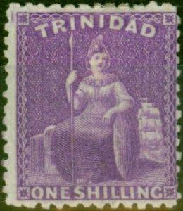 Trinidad 1863 1s Bright & Deep Mauve SG73 Fine & Fresh Mtd Mint