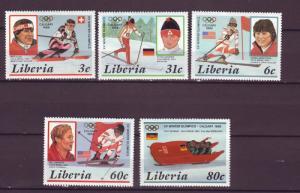 J8572 JL stamps 1987 liberia mh set5 #1049-53 sports