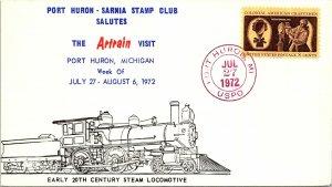 1972 Port Huron, MI R.P.O. Railway Post Office + Art Train Cachet #162