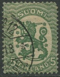 Finland - Scott 83 - Arms of Republic -1917- Used - Single 5p Stamp