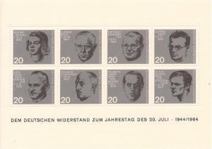 Germany 883-890 Nazi Resistance Portraits M/S MNH CV$6 1964 Scholl Stauffenberg