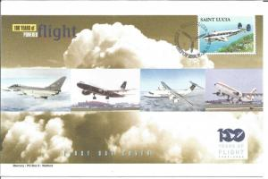 100 Years Of Flight First Day Cover Lockheed Lodestar 2003 St. Lucia Z5500