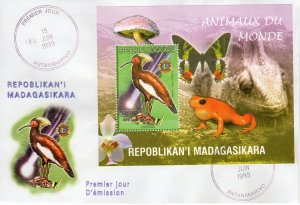 Madagascar 1999 Sc#1416h Lampira/Lions International  S/S PERFORATED FDC