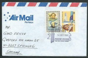 AUSTRALIA 1991 cover to Germany - nice franking - Sydney pictorial pmk.....12853