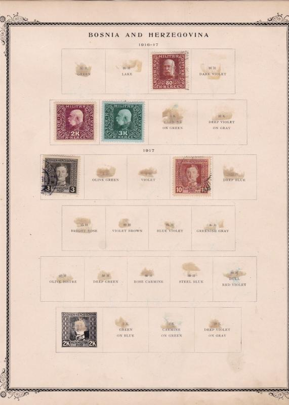 bosnia & herzegovina stamps on 2 album page ref 13431