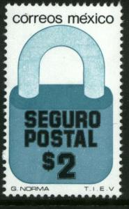 MEXICO G26A $2P Padlock Insured Letter Unwmk Fluor Paper 5. MINT, NH. VF.