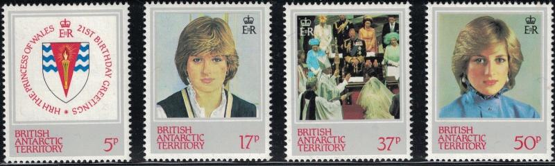 British Antarctica SC92-95 PrincessDiana:Arms-Wedding-Portrait&more MNH 1982