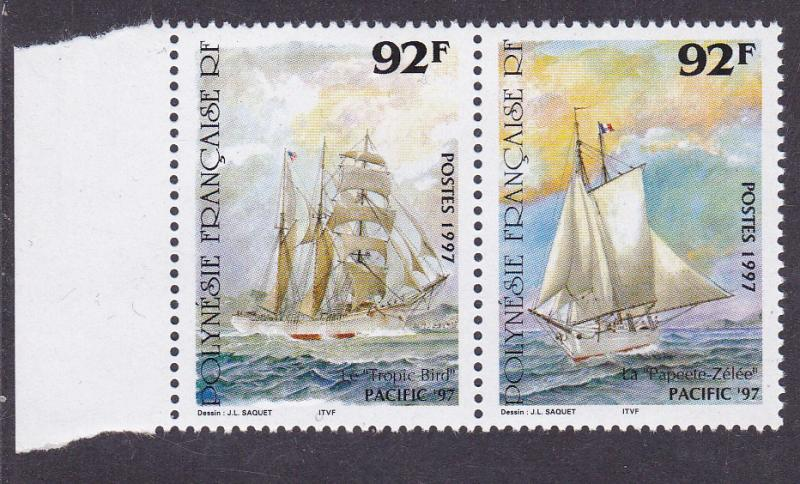 French Polynesia 1997 Pacific '97 Sailing Ships Carrying Mail Tahiti-S.F.  VF/NH