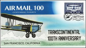 20-267, 2020, Air Mail 100, Event Cover, Pictorial Postmark,Transcontinental,