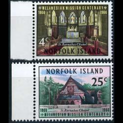 NORFOLK IS. 1966 - Scott# 97-8 Church Set of 2 NH