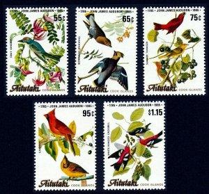 AITUTAKI - 2011 - BIRDS - AUDUBON - CARDINAL - TANAGER - CROSSBILL ++ MNH SET!