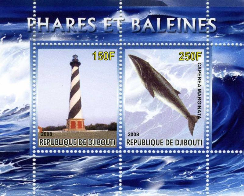Djibouti 2008 Whale and Light House s/s Perforated mnh.vf