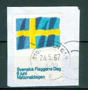 Sweden. Poster Stamp. 1967. On Paper. National  Day June 6.  Flag. Cancel.