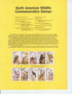 1987 North American WIldlife Souvenir Pages (5) (Scott SP795-99) FDOI