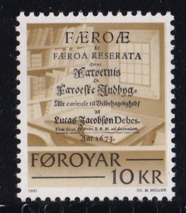 Faroe Islands #69  MNH  1981   historic writing   10k