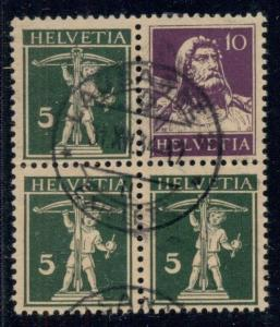 SWITZERLAND Zum Z18z, 10c + 5c vertical Se-Ten Pair in Block, used, VF