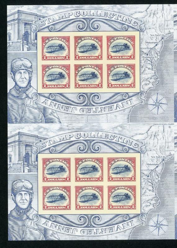 UNITED STATES INVERTED JENNY IMPERFORATE MASTER UNCUT SHEET OF SIX MINT NH