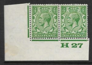 ½d Green Block Cypher Control H27 imperf UNMOUNTED MINT/MNH