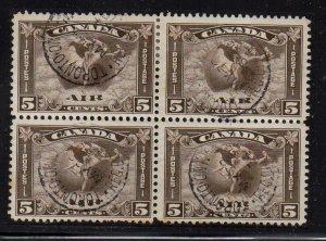 Canada Sc C2 1930 5 c airmail stamp block of 4 used
