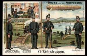 Germany WWI Zeppelin Patriotic Gruss von der Musterung Cover USED 97854