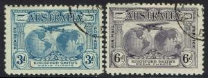 AUSTRALIA 1931 AIRMAIL 3D AND 6D CTO WITH GUM