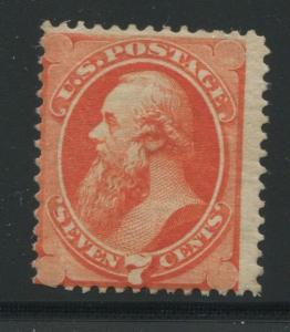 1873 US Stamp #160 7c Average Mint Regummed Catalogue Value $600