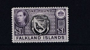 FALKLAND ISLANDS  1938 - 50 S G 163  £1  BLACK & VIOLET MH  £130