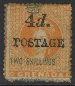 GRENADA SG41 1888 4d on 2/= ORANGE MTD MINT