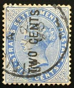 Malaya Straits Settlements 1884 QV 2c on 5c Wide EN & S Used SG#77 M2075