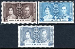 Aden 13-15, MNH. Coronation. King George VI and Queen Elizabeth, 1937