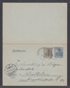 Germany H&G 72 used. 1907 Provisional reply card with 1907 Railway cancels