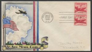 #C37 5¢ AIRMAIL PAIR ON KNAPP FDC HAND PAINTED CACHET HW904