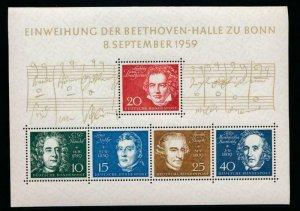 GERMANY 804 MINT NH 1959 SOUVENIR SHEET, MUSIC