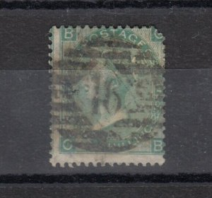 GB QV 1862 1/- Green SG90 Plate 4 Fine Used J9791