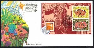 SINGAPORE - Sc#775b Year of the Ox HONG KONG '97 Stamp Exhibition S/S (1997) FDC