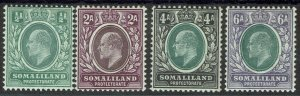 BRITISH SOMALILAND 1904 KEVII 1/2A 2A 4A AND 6A WMK CROWN CA