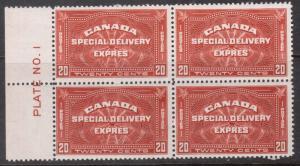 Canada #E4 Mint Plate #1 Block