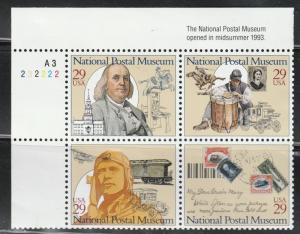 USA Stamp, Scott#2782(A), National postal museum, block of 4, plate number,