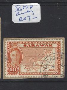 SARAWAK (P1309B)  KGVI 10C MAP  SG 176  PIECE  BINTANG  VFU