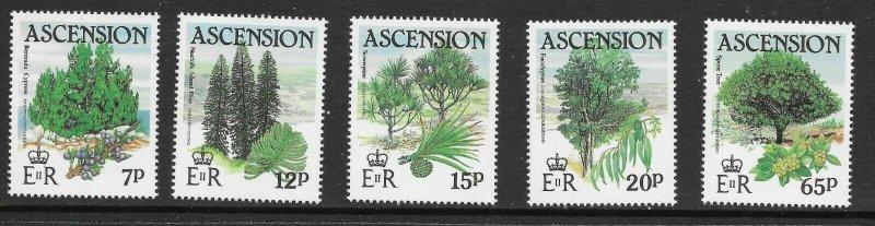 Ascension  363 - 367 (SG 371/45 -  Trees - MNH - VF - CV$5.35
