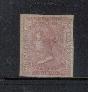 British Columbia #1 Extra Fine Mint Unused (No Gum) On Thin Paper