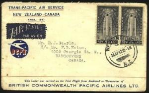 NEW ZEALAND TO CANADA 1947 2/- rate first flight cover to Vancouver........96311
