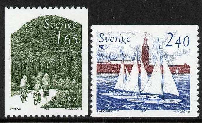 Sweden 1454-5 MNH Nordic Cooperation, Sailing Cycling