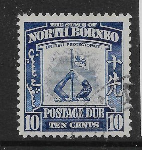 NORTH BORNEO SGD89 1939 10c BLUE POSTAGE DUE USED