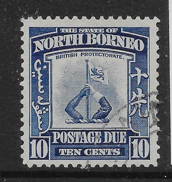 NORTH BORNEO SGD89 1939 10c BLUE POSTAGE DUE USED
