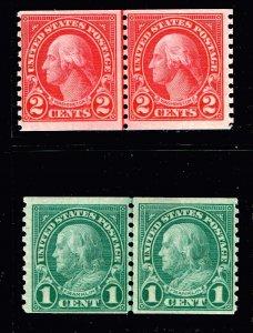US STAMP #597, 599 1923 1, 2c MH/OG COIL LINE PAIR STAMPS l