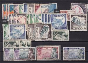 monaco 1953 mounted mint + used  stamps  ref 11664