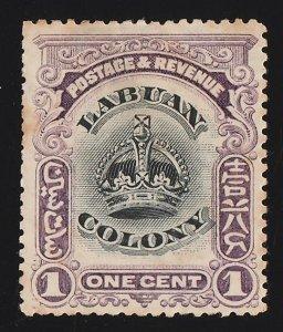 LABUAN : 1902 Crown 1c black & purple, perf 14½-15.